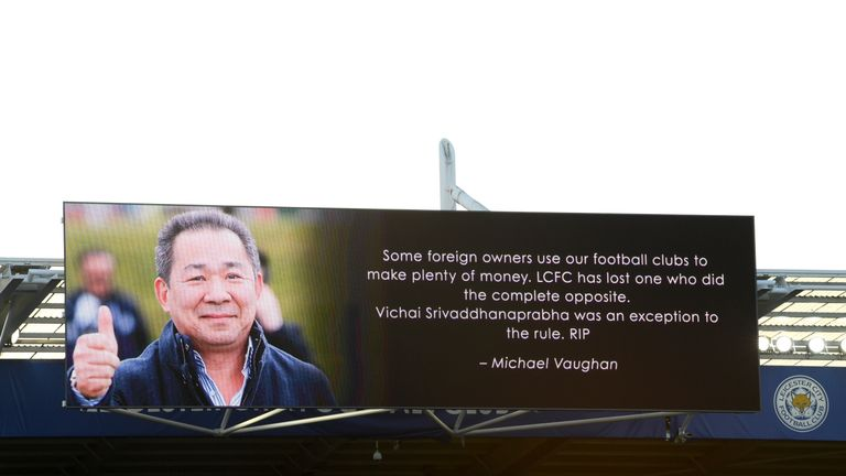 Tributes were written on the screens inside the stadium and advertising hoardings turned black
