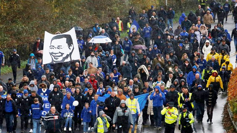 Leicester supporters walk in memory of club's late owner