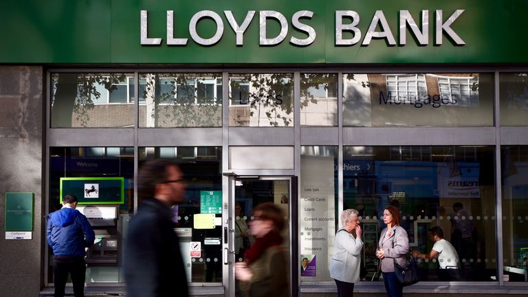 A branch of Lloyds Bank is pictured on October 28, 2014 in London, England