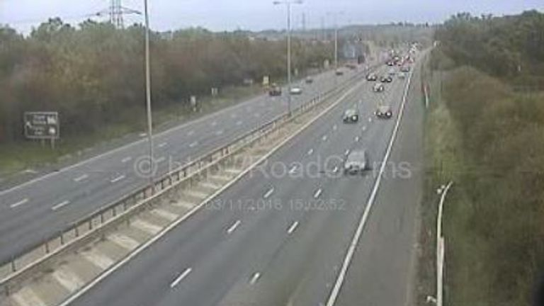 The M5 in Worcestershire has reopened. Pic: motorwaycameras.co.uk