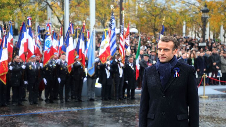 French President Emmanuel Macron attends a ceremony at the Arc de Triomphe in Paris on November 11, 2018 as part of commemorations marking the 100th anniversary of the 11 November 1918 armistice, ending World War I