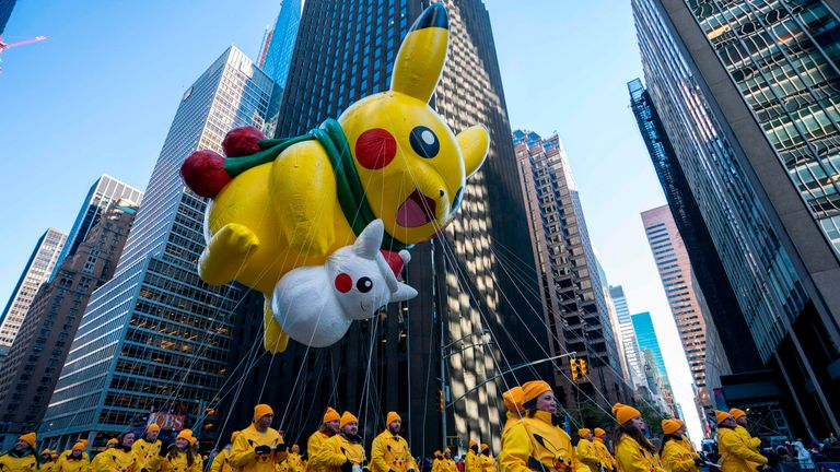 Pokemon characters Pikachu and Snow Pikachu were in the parade