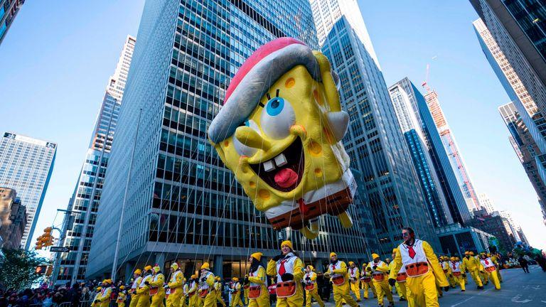 The balloon of children's TV show character SpongeBob SquarePants donned a Santa hat