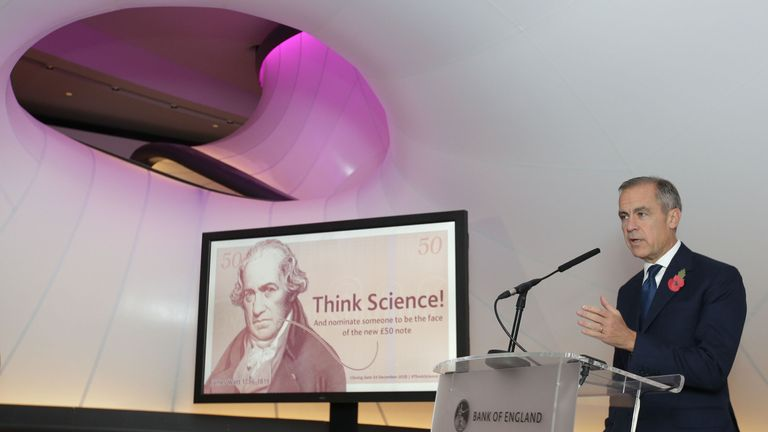 Bank of England Governor Mark Carney speaks during the announcement of the new polymer £50 note, at the Science Museum