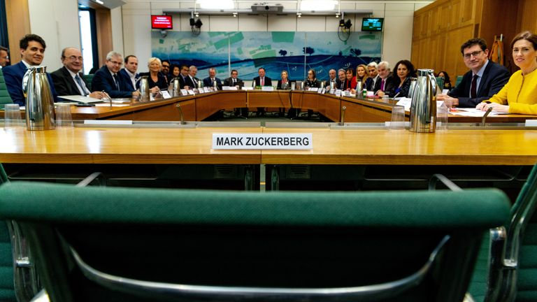 The committee published a picture of Mark Zuckerberg's empty chair. Pic: Gabriel Sainhas