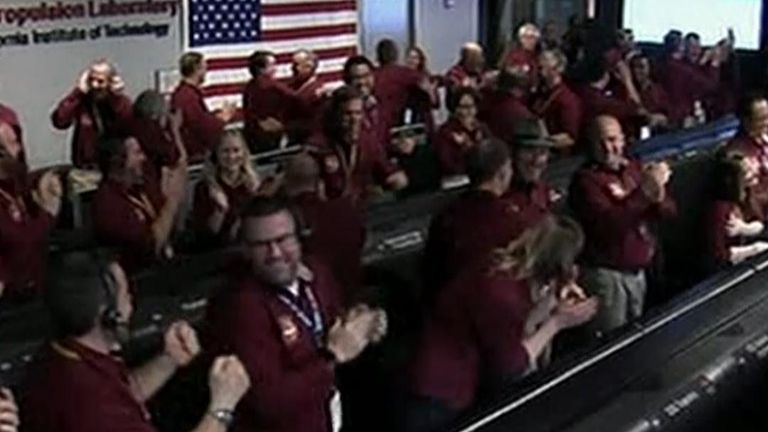 Celebrations at NASA as InSight lands on Mars