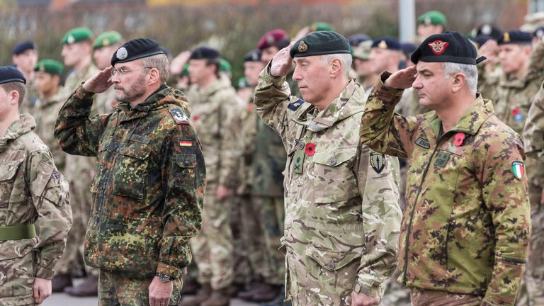 Colonel Frank Duewel from the Bundeswehr, British commander of NATO ARRC Lieutenant General Tim Radford and deputy commander Major General Maurizio Boni from the Italian Army. Pic: Allied Rapid Reaction Corps