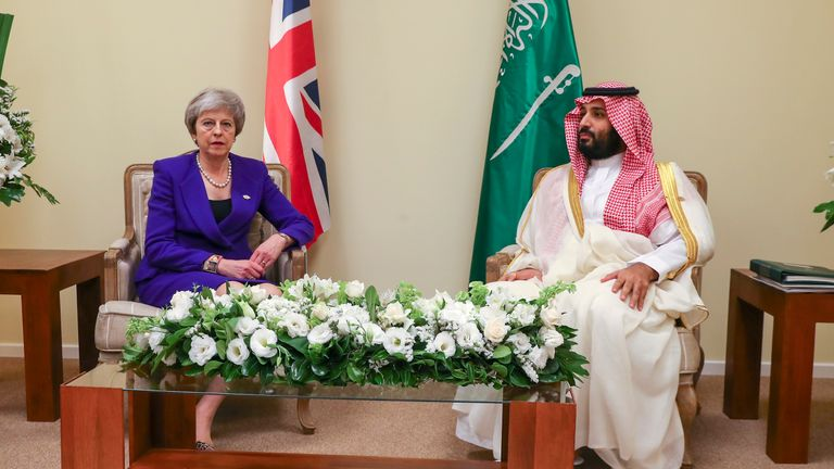 The PM told the crown prince action must be taken to stop another incident like the Khashoggi murder. Pic: MOD Crown Coyright