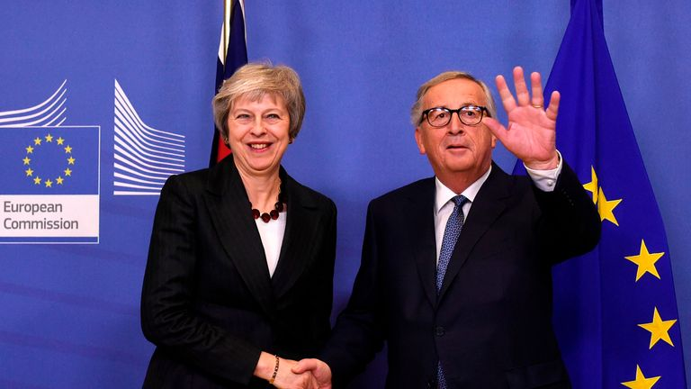 Theresa May and Jean-Claude Juncker are discussing the UK's future relationship with the EU