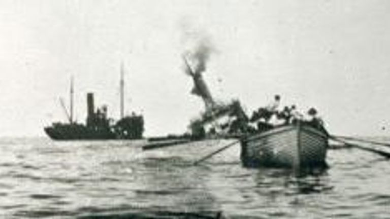 Picture: picture of the 'HT Aragon' sinking from the Imperial War Museum