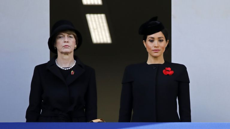 Meghan the Duchess of Sussex watched on from the balcony