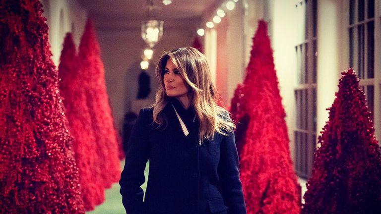Trump Christmas.Melania Trump Defends Fantastic Red Christmas Trees At