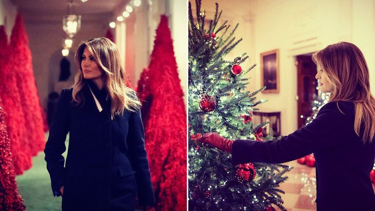Melania Trump posted pictures of her decorating the White House for Christmas. Pic: Melania Trump/Twitter