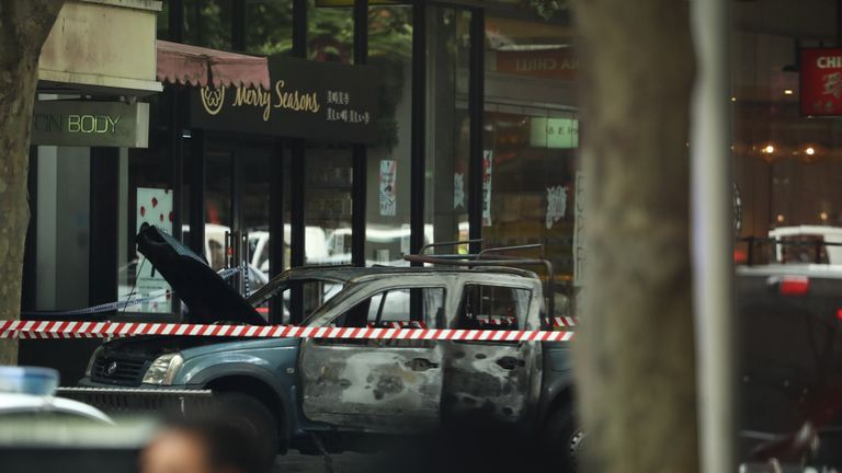 A burnt out vehicle is seen in Bourke St on November 09, 2018 in Melbourne, Australia