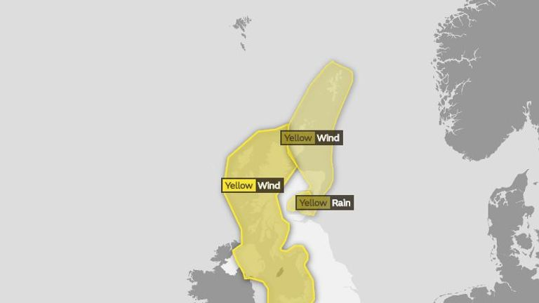 Yellow weather warnings for wind and rain are in force for Wednesday. Pic: Met Office