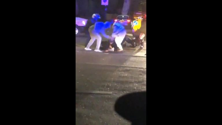 Police officers were attacked on the ground