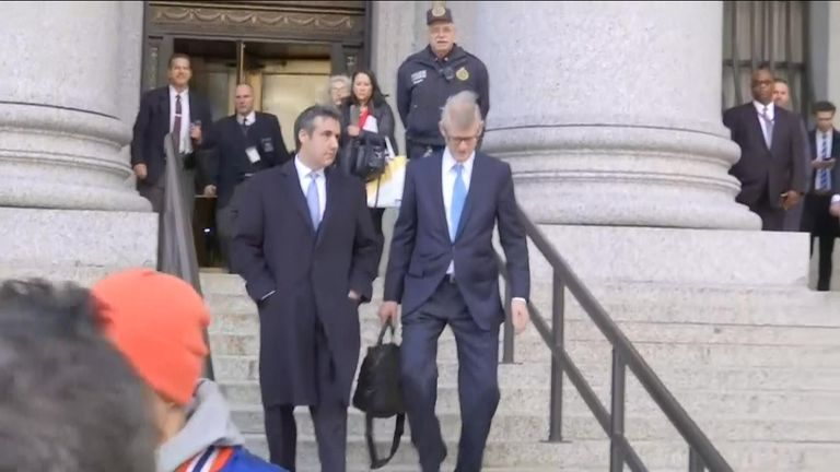 Michael Cohen leaves court