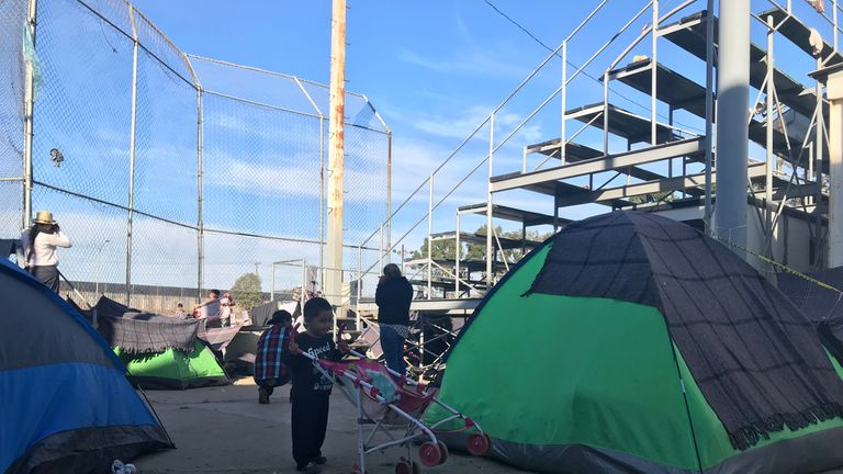 tijuana migrant camp - sky news pic