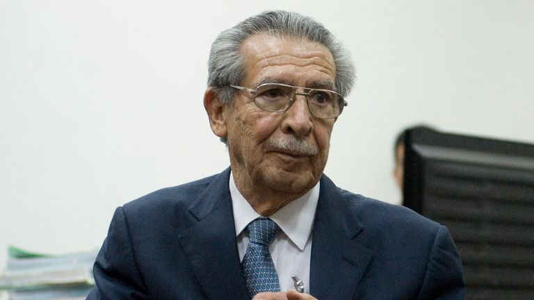 Guatemalan former de facto president (1982-1983) and retired General, Jose Efrain Rios Montt, speak with journalist after a hearing regarding the massacre of 201 peasants in the Dos Erres hamlet in 1982