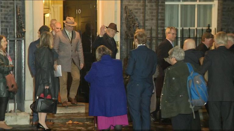 Senior Brexiteers leaving Downing Street after meeting Theresa May for an hour-long meeting to lobby her for a different Brexit deal