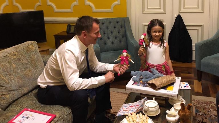 Foreign Secretary Jeremy Hunt meets Gabriella, daughter of jailed British-Iranian Nazanin Zaghari-Ratcliffe. He brought gifts for both of them. Nazanin made dolls for Gabriella and Hunt's own daughter. 