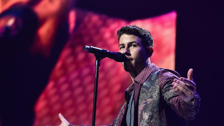 Nick Jonas on stage in NewYork last month