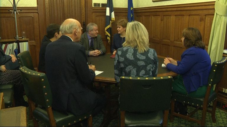 Nicola Sturgeon meets representatives from the minor parties to discuss plans to block the Brexit deal