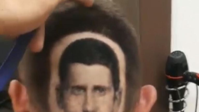 Tennis star Novak Djokovic's image is shaved into back of fan's head