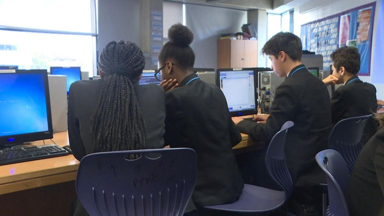 Students at the Petchey Academy in east London are taught about online safety