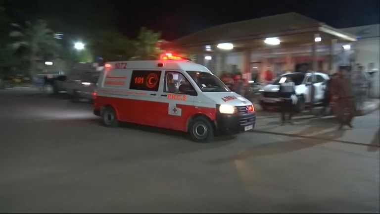 Palestinian ambulance in Khan Yunis, Gaza