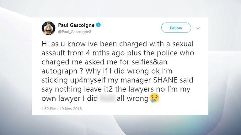 Paul Gascoigne tweet