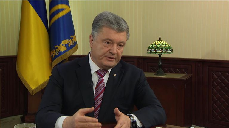 Poroshenko showed Sky News documents showing tanks massing on the border