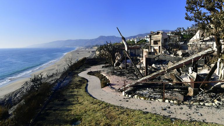 The ruins of one of the beachside mansions at Point Dume State Beach after the fire