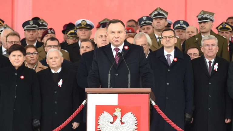 Poland president Andrzej Duda speaks during an official ceremony marking 100 years of Polish independence
