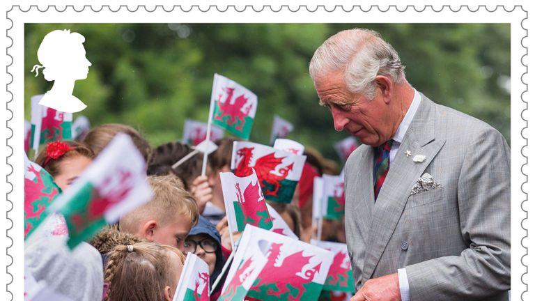 The heir greets schoolchildren during a visit to Llancaiach Fawr Manor near Cardiff