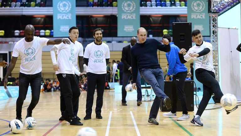 The Duke Of Cambridge attends a football for peace graduation ceremony