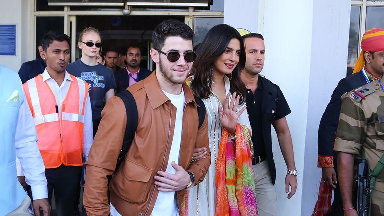 Priyanka Chopra and Nick Jonas arrive in Jodhpur ahead of their wedding, with Game of Thrones star Sophie Turner