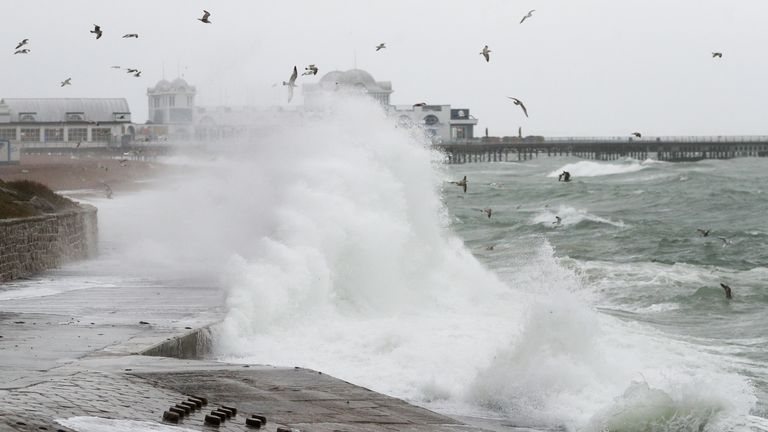 Waves crash on the seafront near to the South Parade pier in Southsea, Hampshire, as the UK braces itself for a blast of gales and heavy rain ahead of Storm Diana which is sweeping in from the Atlantic. Read less Picture by: Andrew Matthews/PA Wire/PA Images