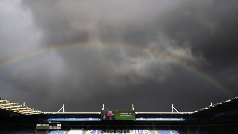 A rainbow shines over the King Power stadium this afternoon