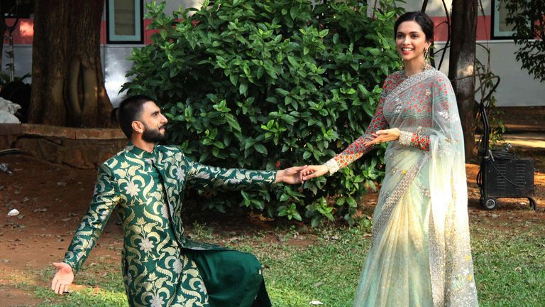 Foretelling the future: Singh on one knee while promoting a film with Padukone in 2015