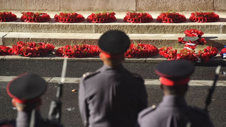 Wreaths have been laid at the Cenotaph on the centenary of the Armistice