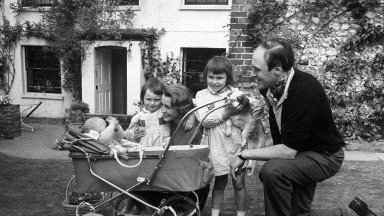 A family photograph of the children's author Roald Dahl, with his family