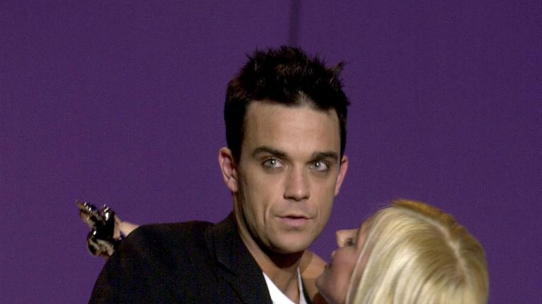 Robbie Williams and Geri Halliwell (now Horner) at the Brit Awards in 2001
