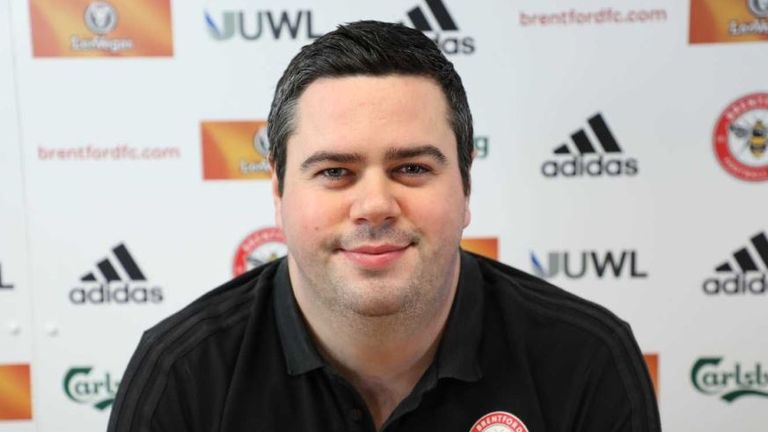 Brentford's technical director Robert Rowan has died aged 28. Pic: brentfordfc.com