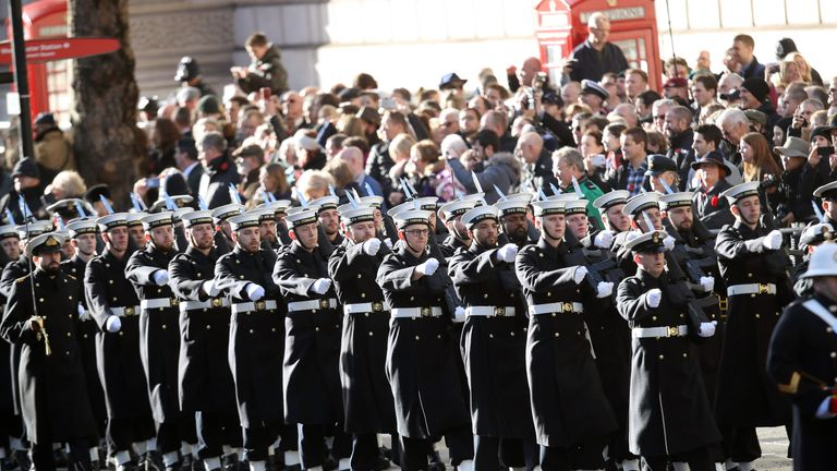 The Royal Navy Submarine Service march during the annual Remembrance Sunday memorial