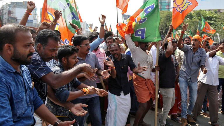 BJP supporters protesting in nearby Kochi