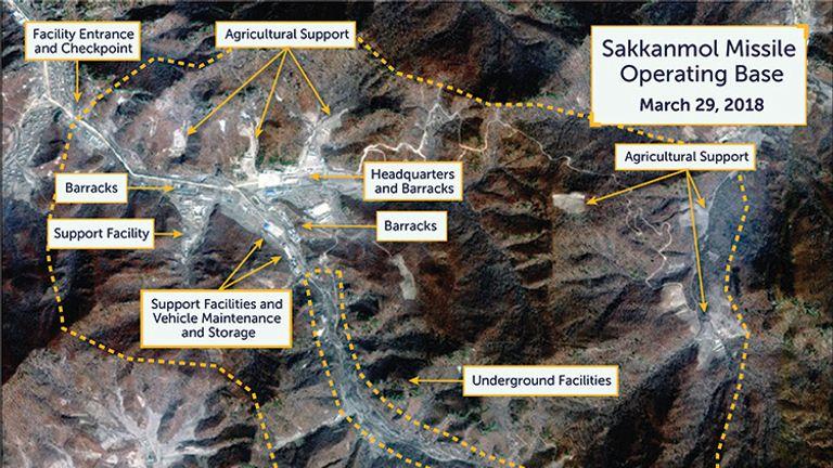 Sakkanmol missile base in North Korea. Pic: DigitalGlobe/CSIS