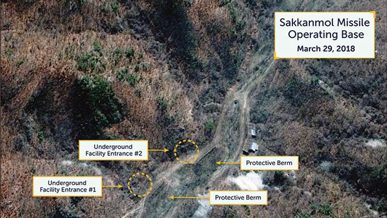 The entrances to tunnels can be seen with large protective rock and dirt berms from the excavation debris in front. Pic: DigitalGlobe/CSIS