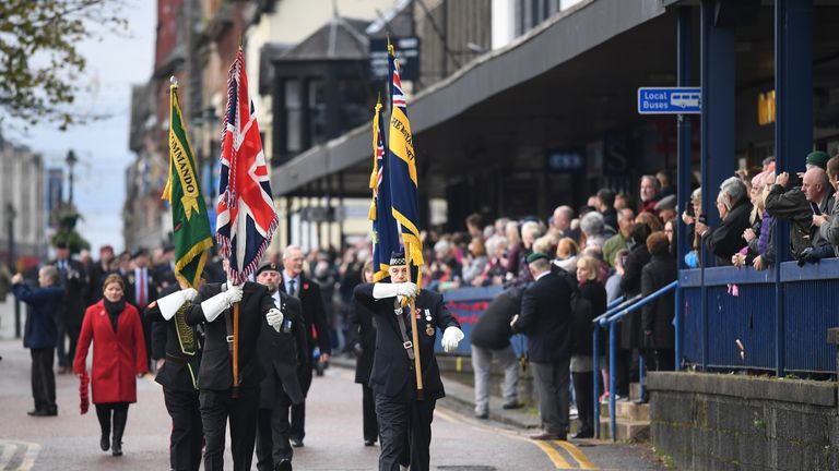 Veterans and serving members of the armed forces gather to pay their respects in Fort William