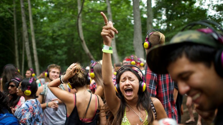 Silent disco-goers have a good time at a festival in Delaware, US